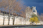 Europe, France, Paris. Trees of the Seine Embankment, early spring.