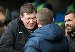 St Johnstone v Kilmarnock&hellip;15.10.16.. McDiarmid Park   SPFL<br />Tommy Wright and Lee Clark shakes hands before kick off<br />Picture by Graeme Hart.<br />Copyright Perthshire Picture Agency<br />Tel: 01738 623350  Mobile: 07990 594431