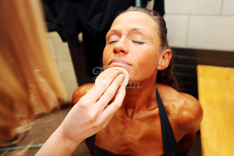 23/10/2010. Irish female physique and figure fitness national championships. Margaret Mc Grath  from Carlow is pictured backstage during the female figure fitness category as part of the 2010 RIBBF national bodybuilding championships at the University of Limerick Concert Hall, Limerick, Ireland. Picture James Horan.