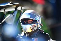 May 6, 2012; Commerce, GA, USA: NHRA top fuel dragster driver Shawn Langdon during the Southern Nationals at Atlanta Dragway. Mandatory Credit: Mark J. Rebilas-