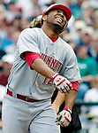 Cincinnati Reds Edwin Encarnacion grimaces after being hit by a pitch throw by Seattle Mariners'  Miguel Batista in the third inning at Safeco Field in Seattle on June 24, 2007.  Jim Bryant Photo. ©2010. ALL RIGHTS RESERVED.