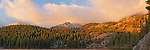 Beautiful panorama view of Bear Lake at sunrise. Rocky Mountain National Park, Colorado.