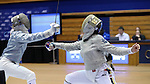 DURHAM, NC - FEBRUARY 25: Notre Dame's Francesca Russo (right) attacks Duke's Lindsay Sapienza (left) during the Women's Saber championship match. The Atlantic Coast Conference Fencing Championships were held on February, 25, 2017, at Cameron Indoor Stadium in Durham, NC.