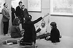 Ossie Clark at a Patrick Procter  private view Redfern gallery London 1969. Sitting on te floor Peter Hinwood, and Gervase Griffiths.