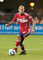 Freddie Ljungberg dribbles the ball. The Chicago Fire defeated the San Jose Earthquakes 3-0 at Buck Shaw Stadium in Santa Clara, California on September 29th, 2010.