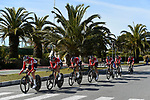 Lotto-Soudal team in action during the 1st stage of the race of the two seas, 52nd Tirreno-Adriatico by NamedSport a 22.7km Team Time Trial around Lido di Camaiore, Italy. 8th March 2017.<br /> Picture: La Presse/Fabio Ferrari | Cyclefile<br /> <br /> <br /> All photos usage must carry mandatory copyright credit (&copy; Cyclefile | La Presse)