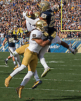 Pitt wide receiver Tyler Boyd was unable to come down with this catch. The Notre Dame Fighting Irish football team defeated the Pitt Panthers 42-30 on Saturday, November 7, 2015 at Heinz Field, Pittsburgh, Pennsylvania.