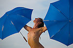 Aug. 29 2008 - Black Rock City, Nevada, USA - An artist performs a dance with umbrellas, Firday, Aug. 29, 2008, during the Burning Man arts and culture festival in Black Rock City in the Black Rock Desert near Gerlach, Nev. (Credit Image: © David Calvert/ZUMA Press)