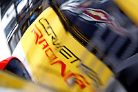 Corvette Racing reflections, Brickyard Grand Prix, Indianapolis Motor Speedway, Indianapolis, Indiana, July 2014.  (Photo by Brian Cleary/www.bcpix.com)