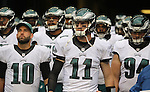 Philadelphia Eagles quarterback Carson Wentz (11) and teams waits to run out onto the field before their game against the Seattle Seahawks at CenturyLink Field in Seattle, Washington on November 20, 2016.  Seahawks beat the Eagles 26-15.  ©2016. Jim Bryant Photo. All Rights Reserved.