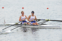 Brest, Belarus.  GBR LW2X, Bow Katherine COPELAND and Charlotte BURGESS, , at the  the start.  2010. FISA U23 Championships. Thursday,  22/07/2010.  [Mandatory Credit Peter Spurrier/ Intersport Images]