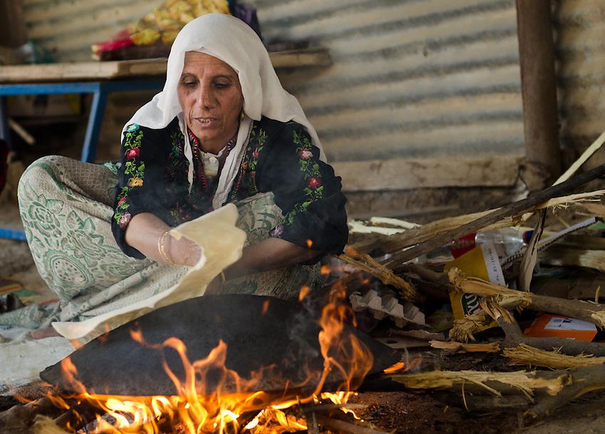 Sarah Elsana, from Lakiya village, makes tradition bedouin bread.