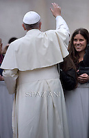 Pope Francis during his weekly general audience in St. Peter square at the Vatican, Wednesday.November 12, 2014