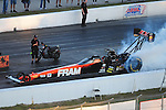 Jan. 20, 2012; Jupiter, FL, USA: Aerial view of NHRA top fuel dragster driver Spencer Massey during testing at the PRO Winter Warmup at Palm Beach International Raceway. Mandatory Credit: Mark J. Rebilas-