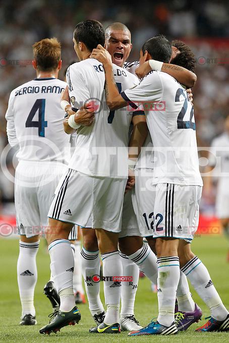 Real Madrid's Cristiano Ronaldo goal during Spanish Supercup 2nd match on august 29 2012...Photo: Alex Cid-Fuentes / ALFAQUI /NortePhoto.com<br /> <br /> **CREDITO*OBLIGATORIO** <br /> *No*Venta*A*Terceros*<br /> *No*Sale*So*third*<br /> *** No*Se*Permite*Hacer*Archivo**<br /> *No*Sale*So*third*