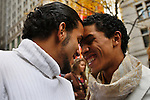 UNITED STATES, NEW YORK,  November 19, 2011..Ivan Cabrera (R) and Jonathan Lopez (L) A gay couple of Protesters affiliated with the Occupy Wall Street movement Celebrates Their symbolic wedding at Zuccotti Park, In Lower Manhattan New York November 19, 2011. VIEWpress /Kena Betancur.