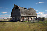Idaho, South central, Rupert. A sway backed stone walled barn in it's last days.