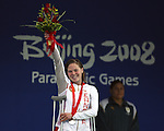 Stephanie Dixon of Victoria, B.C. on the podium with her silver medal in women's 400 metre freestyle at the swimming finals at the Paralympic Games in Beijing, Friday, Sept., 12, 2008. THE CANADIAN PRESS  CPC/Mike Ridewood