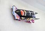 17 December 2010:  Sandra Kiriasis pilots her 2-man bobsled for Germany, finishing 1st and establishing a new track record of 56.90 on her first run at the Viessmann FIBT World Cup Bobsled Championships in Lake Placid, New York, USA. The event was a Make-up Race from the previous week at Park City where the Women's Bobsled had to be cancelled due to severe snow conditions. Mandatory Credit: Ed Wolfstein Photo