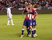 Chivas USA midfielder Sacha Kljestan (16) celebrates his goal with his teammates. CD Chivas USA defeated the San Jose Earthquakes 3-2 at the  at Home Depot Center stadium in Carson, California on Saturday April 24, 2010.  .
