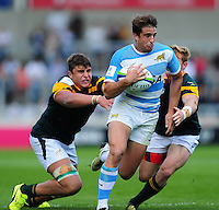 Juan Cruz Mallia of Argentina U20 takes on the South Africa U20 defence. World Rugby U20 Championship 3th Place Play-Off between Argentina U20 and South Africa U20 on June 25, 2016 at the AJ Bell Stadium in Manchester, England. Photo by: Patrick Khachfe / Onside Images