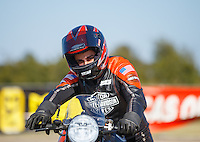 Oct 16, 2016; Ennis, TX, USA; NHRA pro stock motorcycle rider Eddie Krawiec during the Fall Nationals at Texas Motorplex. Mandatory Credit: Mark J. Rebilas-USA TODAY Sports