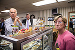 Vice President Joe Biden places a food order during an unannounced stop at the Good Earth Restaurant during a two-day campaign swing through Iowa on Monday, September 17, 2012 in Muscatine, IA.