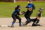 WATERBURY,  CT-051117JS13- WCA's Arianna Torres (7) safely steals second as Crosby's Janel Padin (10) has the ball pop out of her glove during their game Thursday at Huntingdon Park in Waterbury. Crosby's Kassandra Elezi (16), center, came in to back up the throw. <br />  Jim Shannon Republican-American