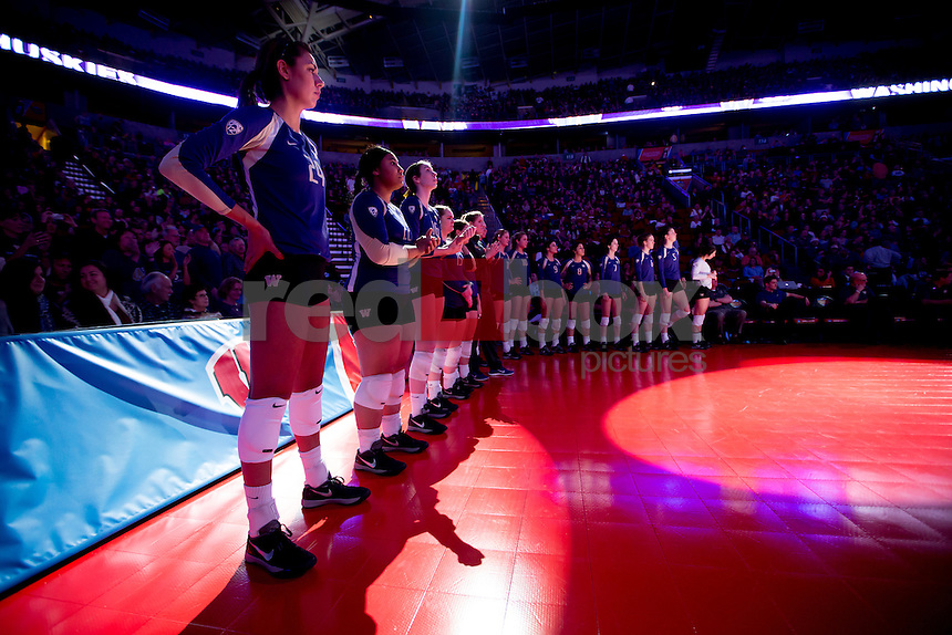 The University of Washington volleyball team plays Penn State University in the national semifinal during the Final Four held at Key Arena in Seattle on Thursday December 19, 2013.(Photo by Scott Eklund/Red Box Pictures)