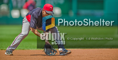8 June 2013: Minnesota Twins utilityman Jamey Carroll warms up prior to a game against the Washington Nationals at Nationals Park in Washington, DC. The Twins edged out the Nationals 4-3 in 11 innings. Mandatory Credit: Ed Wolfstein Photo *** RAW (NEF) Image File Available ***