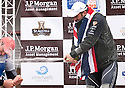 Ben Ainslie (1st) Ed Wright (2nd) celebrate on the podium of The JP Morgan Asset Management Finn Gold Cup 2012. Falmouth.Credit: Lloyd Images