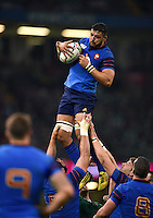 Damien Chouly of France wins the ball at a lineout. Rugby World Cup Pool D match between France and Ireland on October 11, 2015 at the Millennium Stadium in Cardiff, Wales. Photo by: Patrick Khachfe / Onside Images