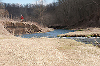 An angler walks past an eroded area on the Green River a trout stream in the Driftless Area of southwestern Wisconsin.