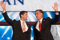 TAMPA, FL - August 30, 2012: Presidential nominee Mitt Romney and vice presidential nominee Rep. Paul Ryan.