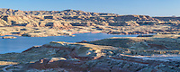 Lake among badlands in the Bighorn Basin of Wyoming