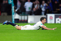 George Ford of England celebrates scoring a try in the second half. Old Mutual Wealth Series International match between England and South Africa on November 12, 2016 at Twickenham Stadium in London, England. Photo by: Patrick Khachfe / Onside Images