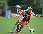 Ole Miss' Bethany Bunker (7) vs. Louisiana-Lafayette's Delaina McGee (22) in college soccer action at the Ole Miss Soccer Stadium in Oxford, Miss. on Sunday, August 26, 2012. Rafaelle Souza delivered her fourth goal of the season in the 12th minute for Ole Miss (4-0).
