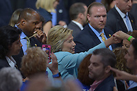 MIAMI, FL - JULY 23: Democratic Presumptive Nominee for President former Secretary of State Hillary Clinton greets suporters during a campaign rally with Florida voters at the Florida International University Panther Arena, Florida on Friday, July 23, 2016. With two days to go until the Democratic National Convention, Hillary Clinton is campaigning in Florida. Credit: MPI10 / MediaPunch
