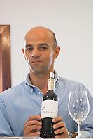 Joao Soares, owner. Bottle of Malhadinha. Drawing by Matilde. Herdade da Malhadinha Nova, Alentejo, Portugal