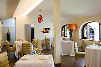 Overall view of the dining room at La Torre del Saracino restaurant in Vico Equense, Italy