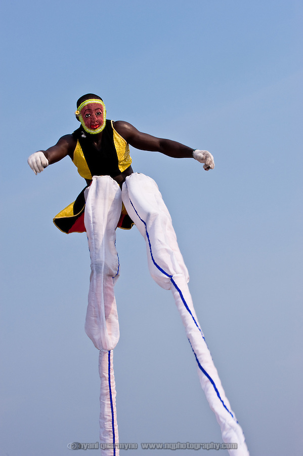 A stiltwalker performs during the Winneba Masquerade Festival in Winneba, Ghana on New Year's Day 2010.