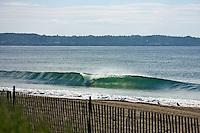 Perfect, peeling waves at a break around Portland, Maine.