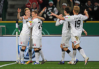 Fussball DFB Pokal:  Saison   2011/2012  Achtelfinale  21.12.2011 Borussia Moenchengladbach - FC Schalke 04 Jubel nach dem Tor zum 2:0. Marco Reus, Tony Jantschke, Mike Hanke (v. li., Borussia Moenchengladbach)