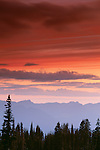 Sunrise over cascade range, Mount Rainier National Park, Washington