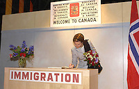 King Harald and Queen Sonja of Norway State visit to Canada..Visit to Pier 21, in Halifax.