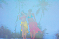 Reflection of Beach Girls on the World famous Boracay Island Beach, Aklan Philippines
