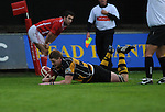 Andrew Coombs dives over to score Newports Second try. Newport V Llanelli, Principality Premiership.  © Ian Cook IJC Photography iancook@ijcphotography.co.uk www.ijcphotography.co.uk