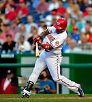 3 July 2009: Washington Nationals' utilityman Willie Harris hits a double in the second inning against the Atlanta Braves at Nationals Park in Washington, DC. The Braves defeated the Nationals 9-8 to take the first game of the 3-game weekend series. Mandatory Credit: Ed Wolfstein Photo