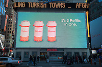 The Walgreen's drug store at One Times Square in New York advertises its services, seen on Wednesday, November 14, 2012.  (© Richard B. Levine)