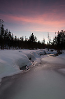 """Alder Creek Sunset 3"" - Photograph of a sunset at an iced over Alder Creek in the Tahoe Donner area of Truckee, California."